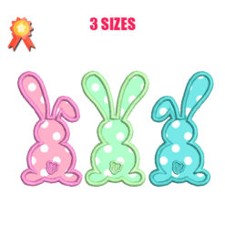 Three Bunnies Machine Embroidery Design
