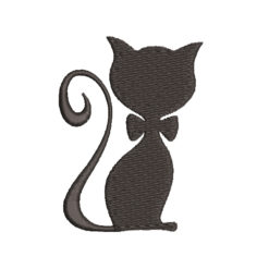 Cat With Bow Machine Embroidery Design