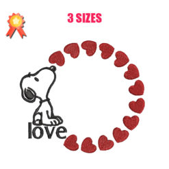 Snoopy Love Machine Embroidery Design