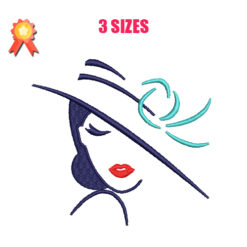 Woman With Hat Machine Embroidery Design