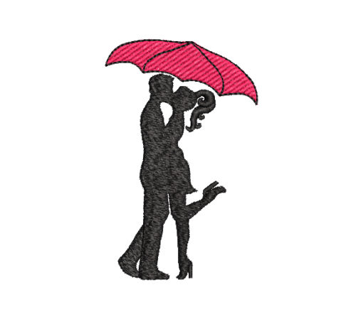 Umbrella Kiss Machine Embroidery Design