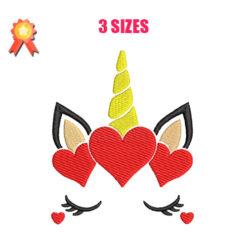 Unicorn Heart Machine Embroidery Design