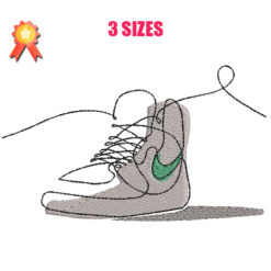 One Line Sneakers Machine Embroidery Design